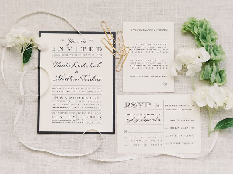 When To Send Wedding Invitations By The Knot Elegant Black And White Invitation Suite