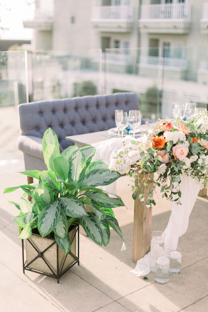 Modern Sweetheart Table with Plant