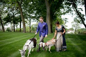 Couple Walking Farm Animals