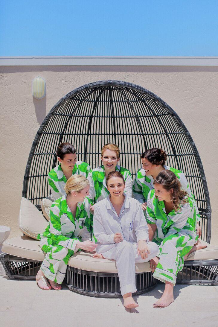 Bride and Bridesmaids in Tropical Pajamas