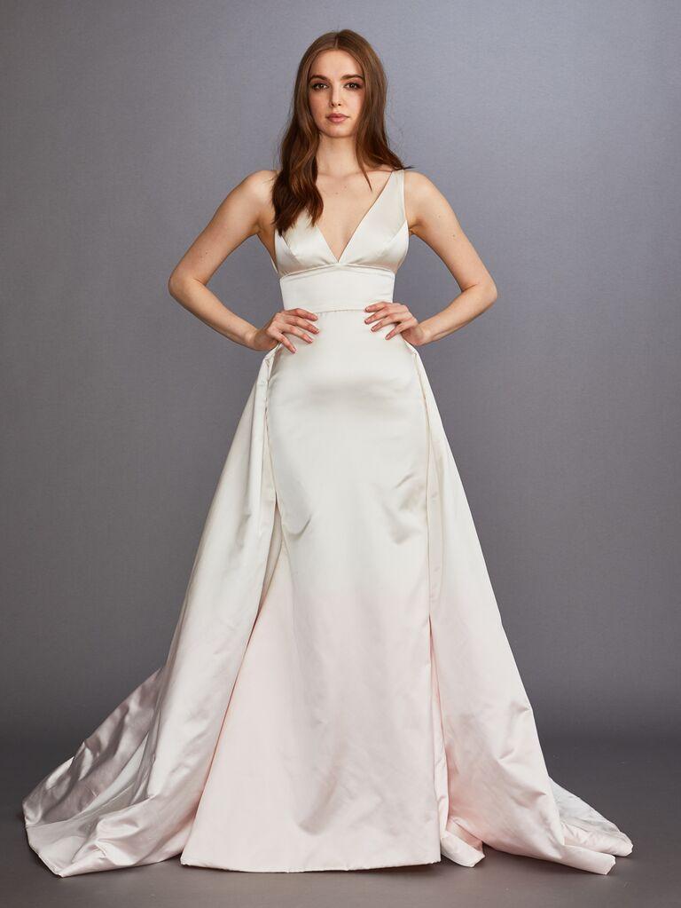 Lazaro Fall 2019 Bridal Collection blush ombre A-line wedding dress