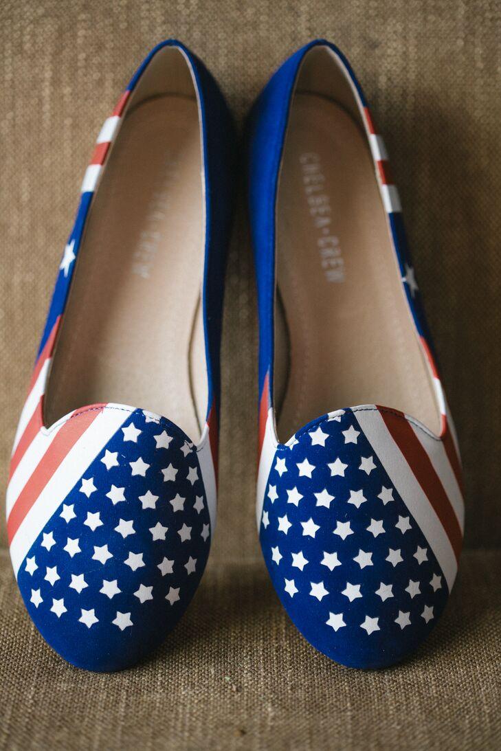 Patriotic American Flag Bridal Flats