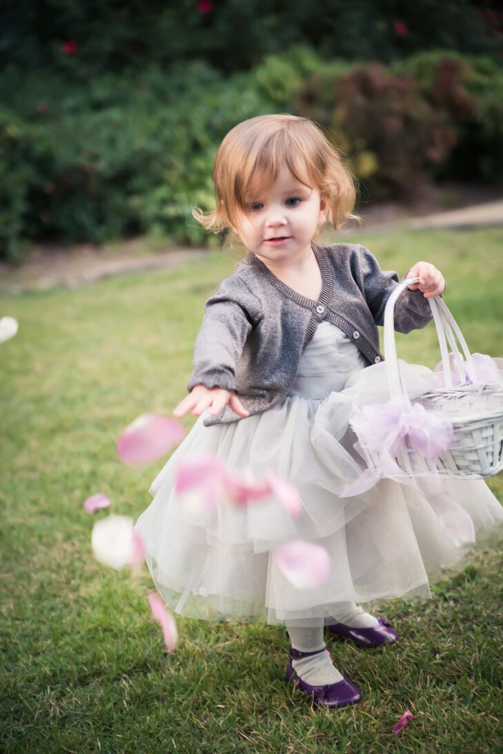 Tulle Flower Girl Dress with Gray Sweater