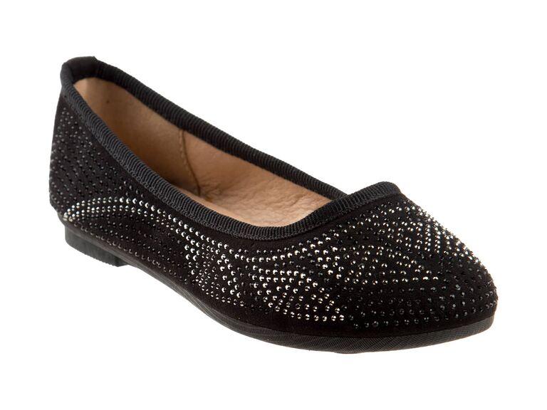 Studded black flower girl shoes