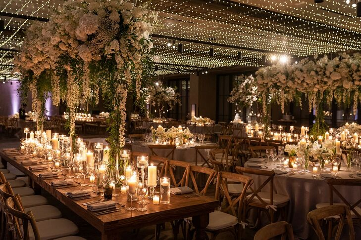 Glamorous Reception with Tall Centerpieces, Candles and String Lights