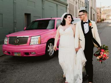 Convertible wedding car with floral garland