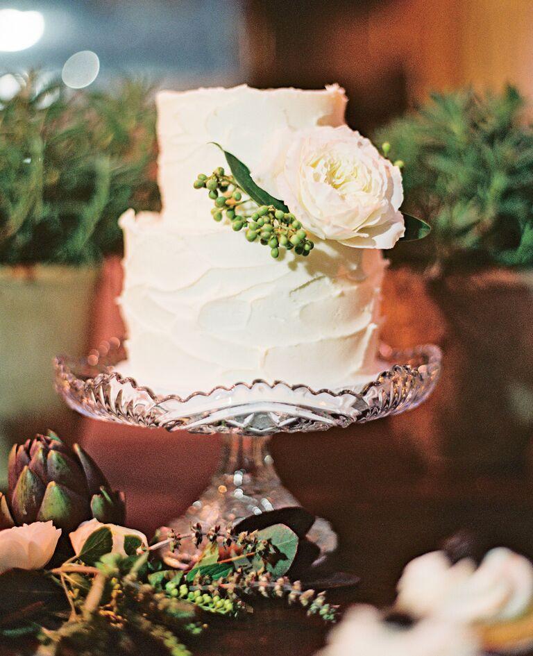 Two-tired white buttercream wedding cake