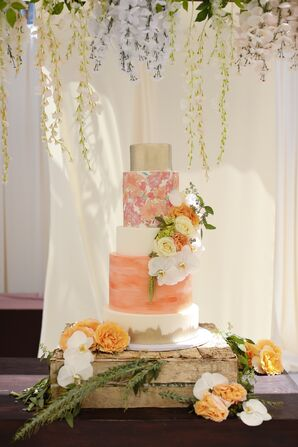 Elaborate Gold and Peach Wedding Cake