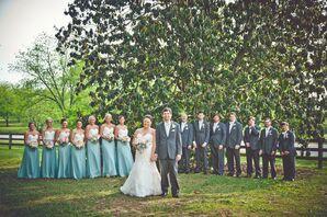 Light Blue and Gray Wedding Attire