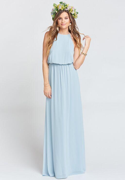 22846682258 Show Me Your Mumu Heather Halter Dress - Steel Blue Chiffon Halter  Bridesmaid Dress
