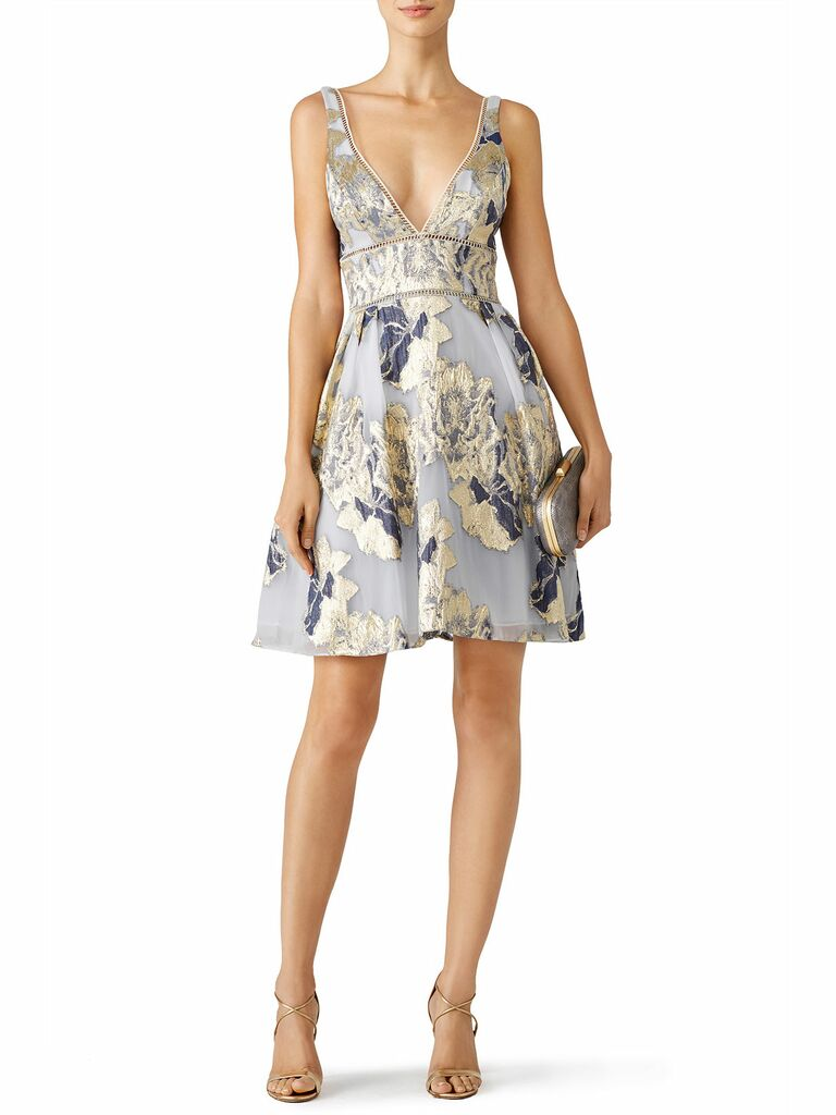 0daeee785441 ... summer wedding guest dresses. floral metallic cocktail dress