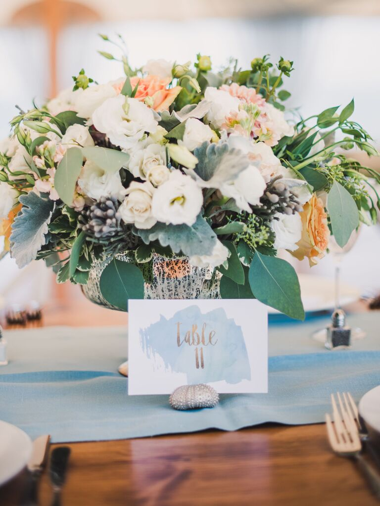 Watercolor wedding table number with seashell holder