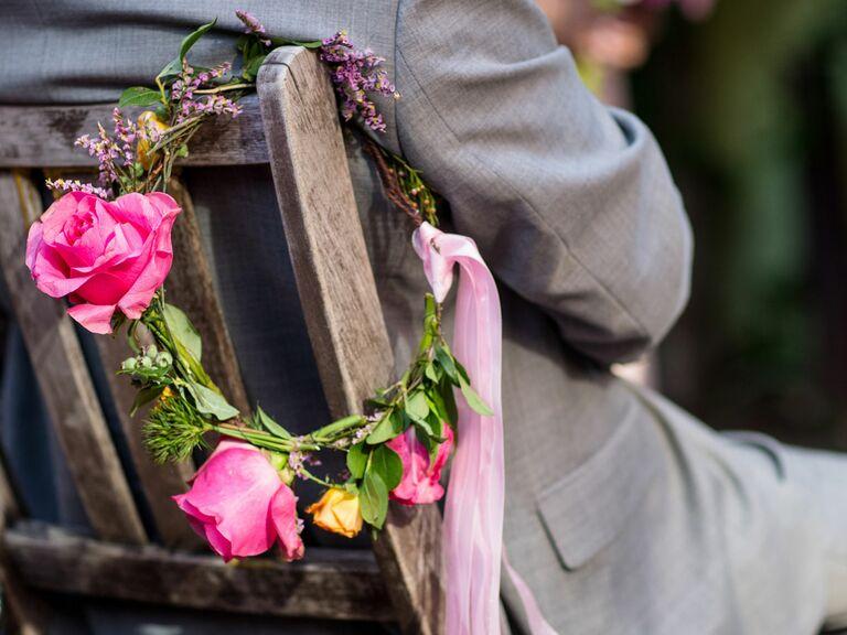 Bright pink rose flower crown