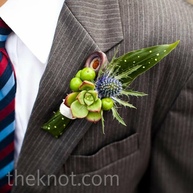 The guys' lapels got texture from succulents and fiddlehead ferns.