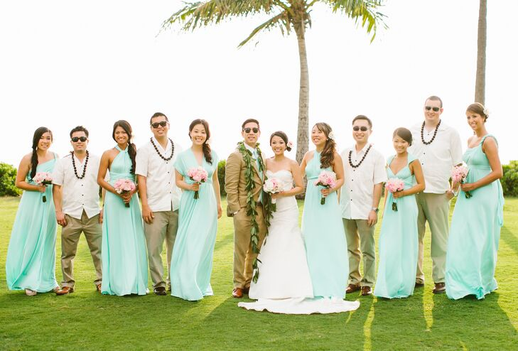"345de09327 ""All our wedding party members wore traditional Hawaiian flowers consisting  of either a haku lei"