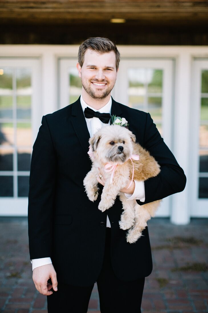 """Nick liked himself best in a black tux and I knew I didn't want vests,"" Hope says of styling her dapper groom. ""I never actually saw him in the tux until the wedding day, which made me that much more excited to see him."""