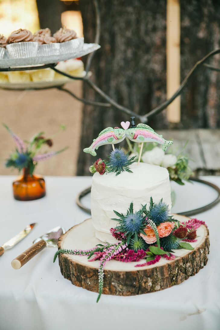 Single-Tier Cutting Cake with Custom Fish Cake Topper
