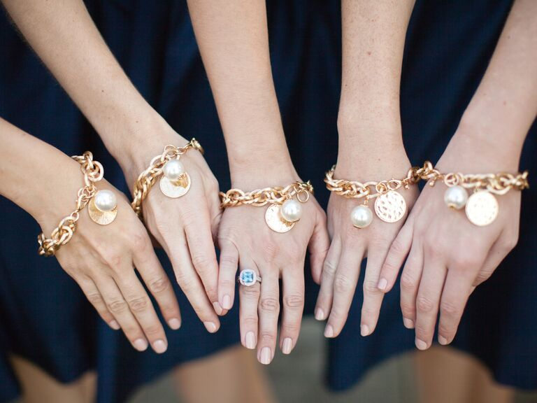 Monogrammed gold and pearl bridesmaid bracelet gifts & Your Biggest Bridesmaid Gift Questions Answered