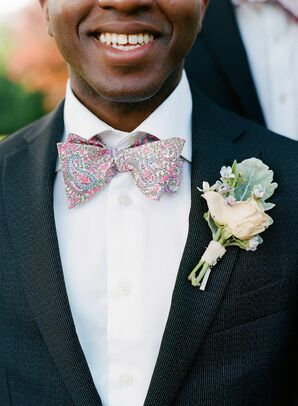 Patterned Bow-Tie and Elegant Boutonniere at Charlottesville, Virginia, Wedding