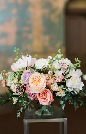 Pale Pink, Ivory and Purple Rose and Peony Arrangement
