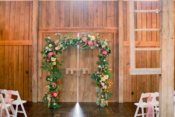 Bright Garden-Inspired Floral Wedding Arch