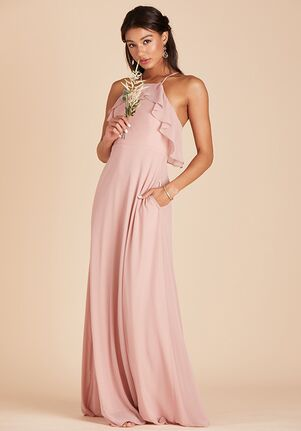 Birdy Grey Jules Chiffon Dress in Rose Quartz Halter Bridesmaid Dress