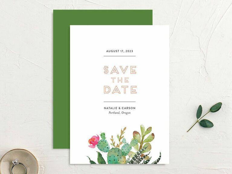 cactus destination wedding save the date