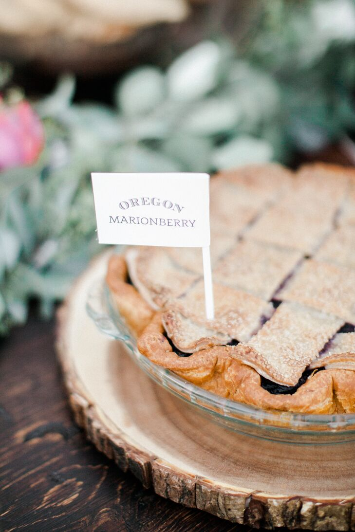 Locally made desserts—such as this marionberry pie from Pacific Pie Company in Portland, Oregon—were cut using heirloom silver servers from Eliza's family.