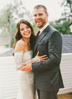 Groom in Charcoal Plaid Wool Suit