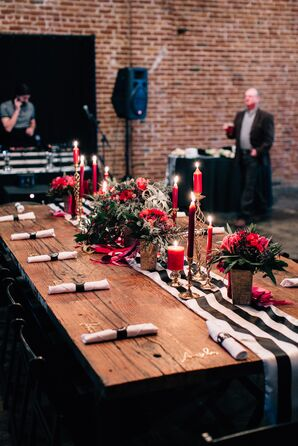 Red Floral and Taper Candle Centerpieces