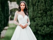wedding dress with sheer sleeves