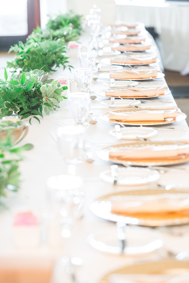 Gold Flatware and Lush Green Centerpieces