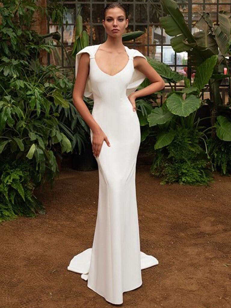 Zac Posen for White One fitted dress with cape