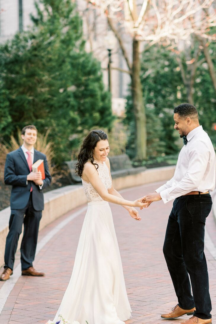 Couple Shares First Dance During Boston Outdoor Elopement