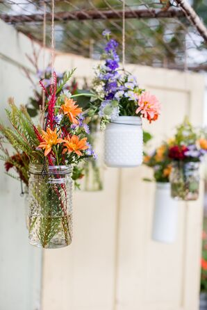 Wildflowers Displayed in Hanging Hobnail Jars