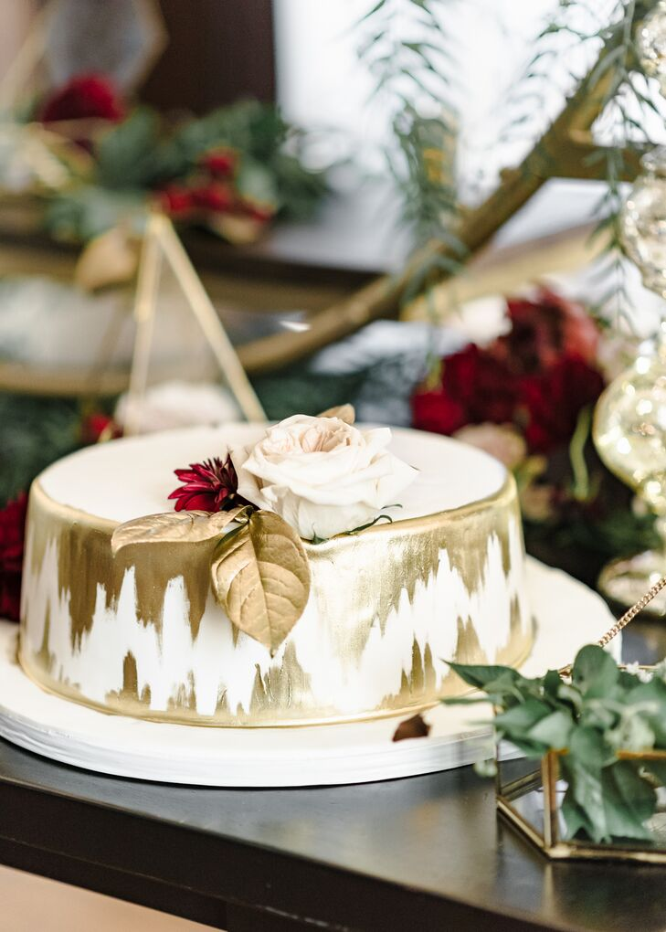Hand-Painted Gold Ikat Cutting Cake