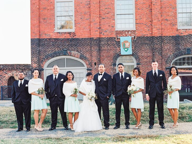The Wedding Party in Mint, Black and White at Historic Tredegar