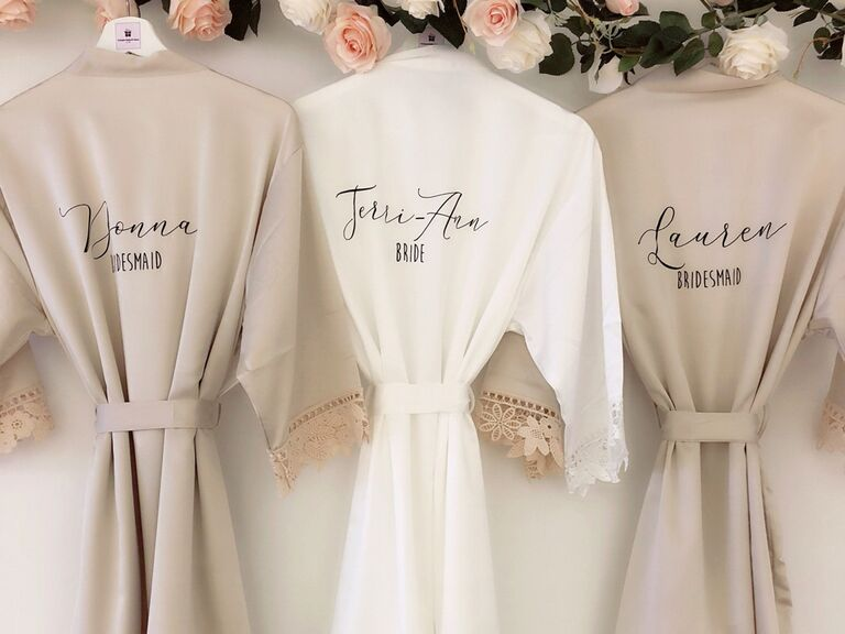 Personalized lace bridesmaid robes