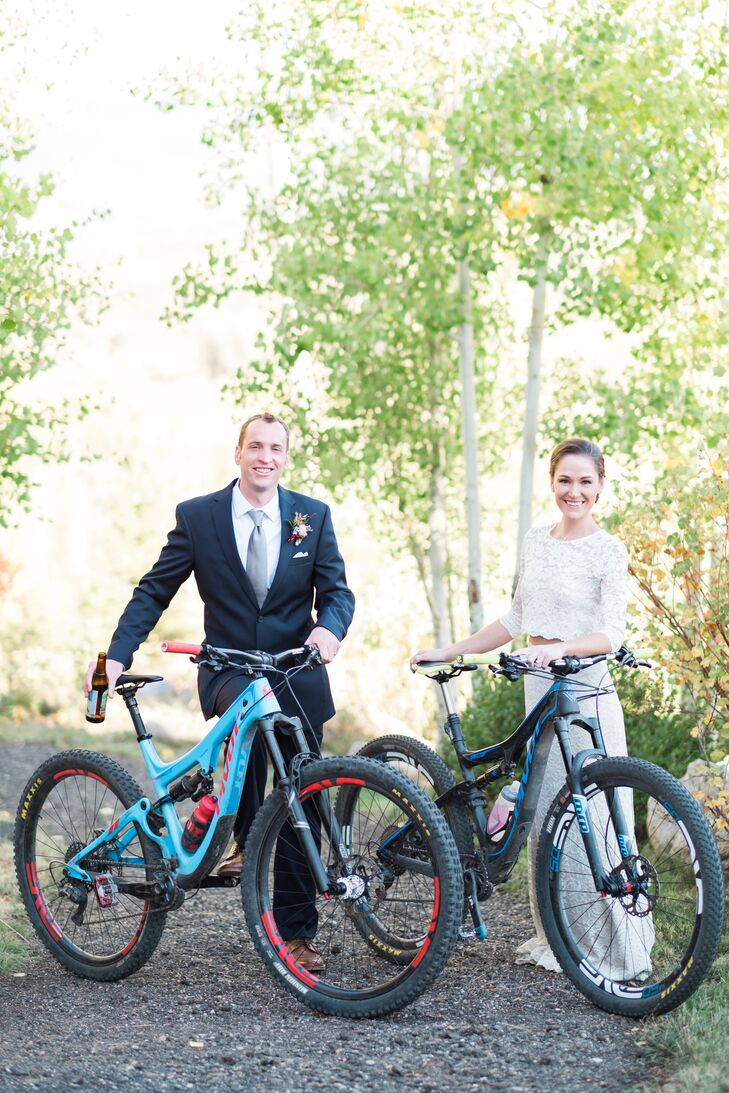 Bride and Groom with Mountain Bikes