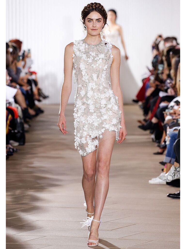 Ines Di Santo wedding dress mini dress with 3D flowers