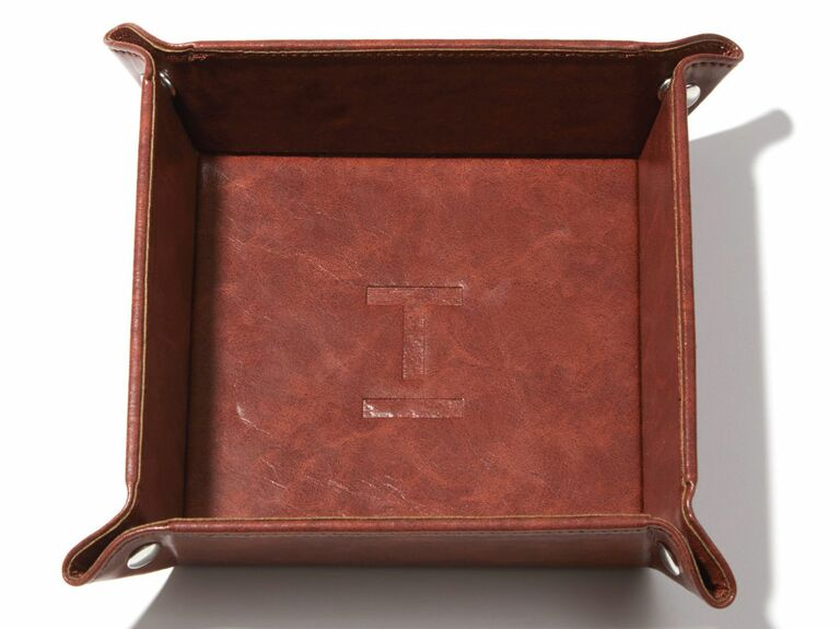 Leather valet tray cute Valentine's Day gift for him