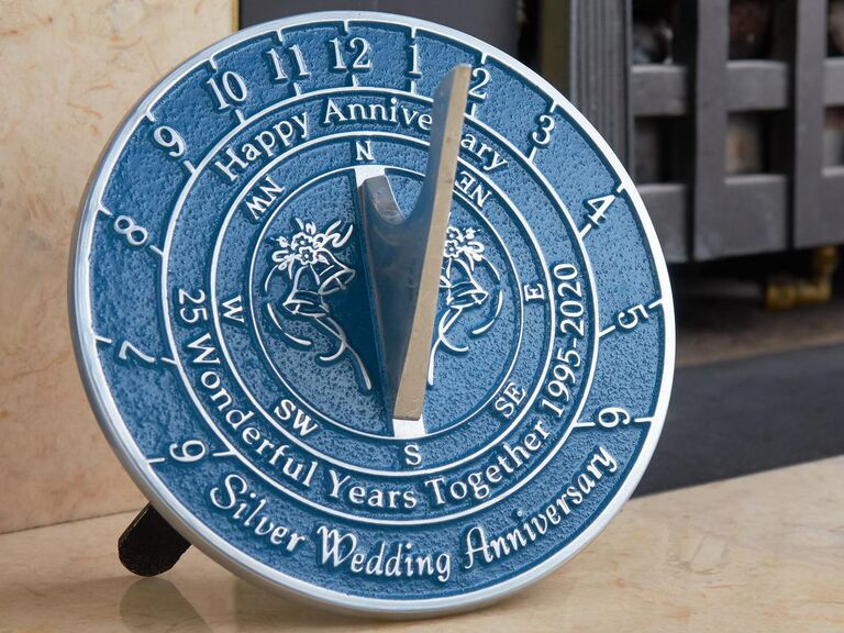 Silver and blue metal sundial commemorating the silver wedding anniversary