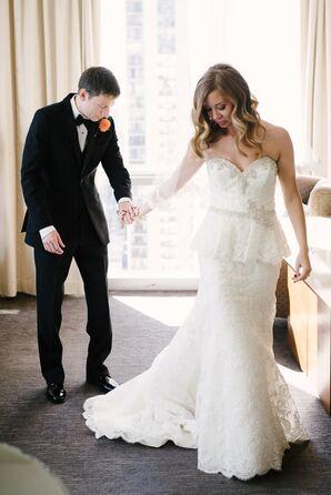 Bride's Strapless, Lace, Peplum Wedding Dress