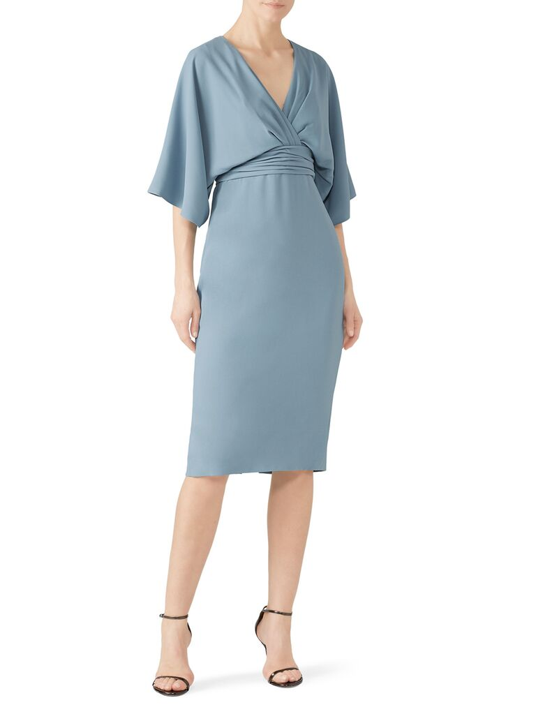Light blue kimono-inspired dress with loose sleeves