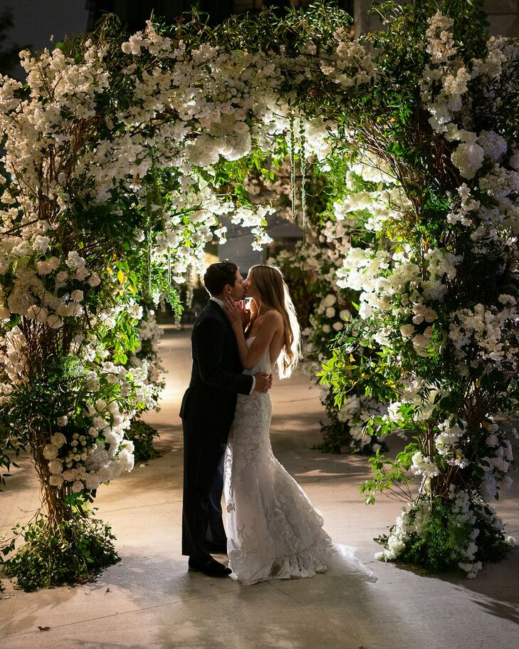 Glamorous Chuppah with White Flowers and Greenery