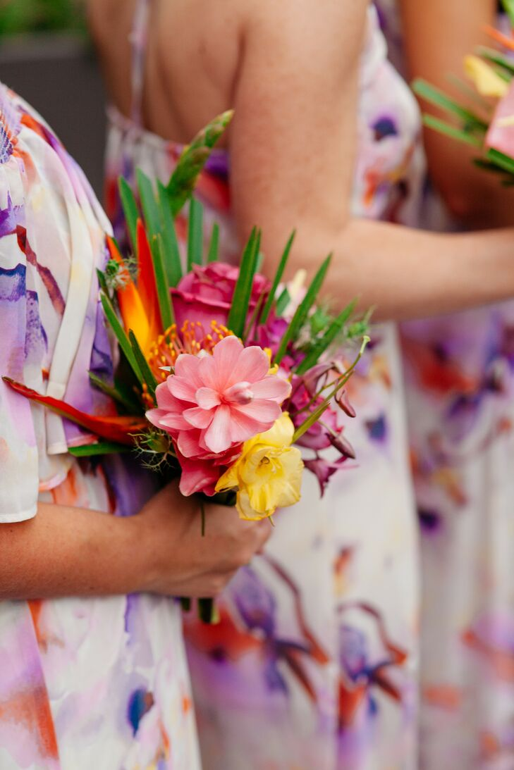 Colorful Bridesmaid Bouquet with Tropical Flowers