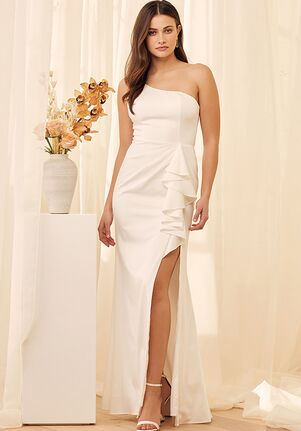 Lulus Enchanted By Love White Ruffled One-Shoulder Mermaid Maxi Dress A-Line Wedding Dress