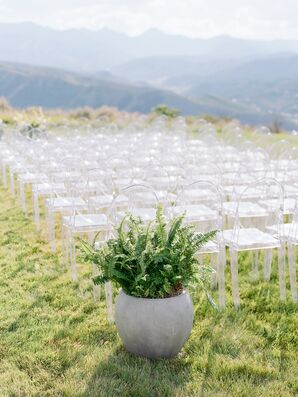 Potted Aisle Decoration with Ferns and Greenery