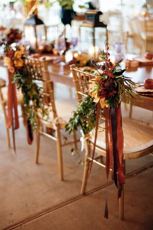 Fall Chair arrangements of Orchids, Greenery and Ribbon