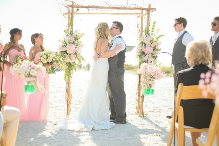 Colorful beach balls were released as Chelsea and Steve said their vows.